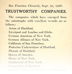 Newspaper ad from San Francisco Chronicle listing trustworthy companies