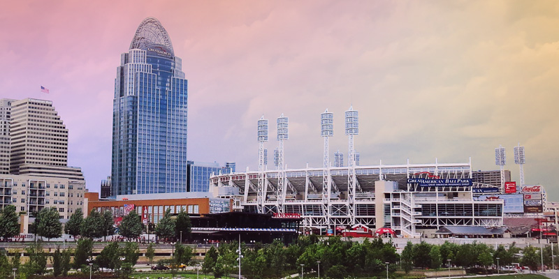 Dowtown Cincinnati Great American Tower and Ball Park