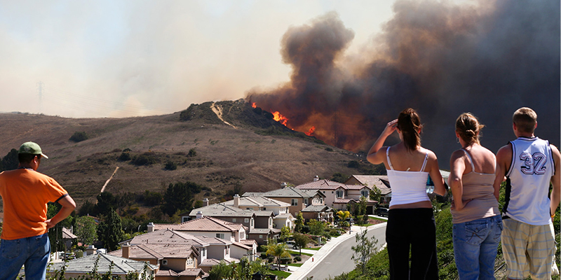 People watching wildfire, overlooking neighborhood