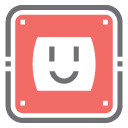 Outlet with smiling face icon
