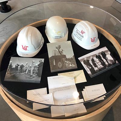 Lindner legacy items in display case
