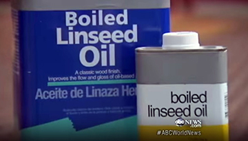 Container of boiled linseed oil