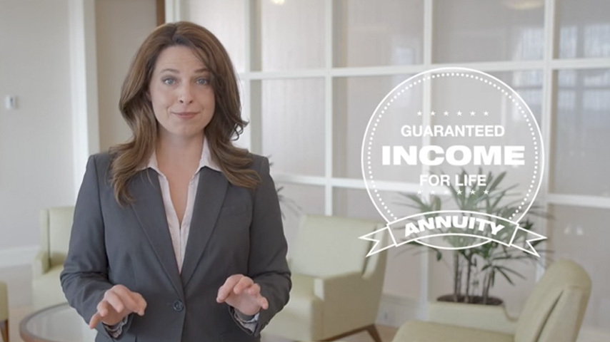 Business woman talking about types of annuities