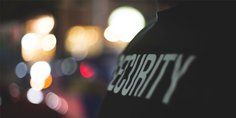 Close up of security officer shirt