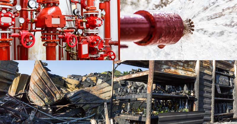 Collage of sprinkler images and fire damage