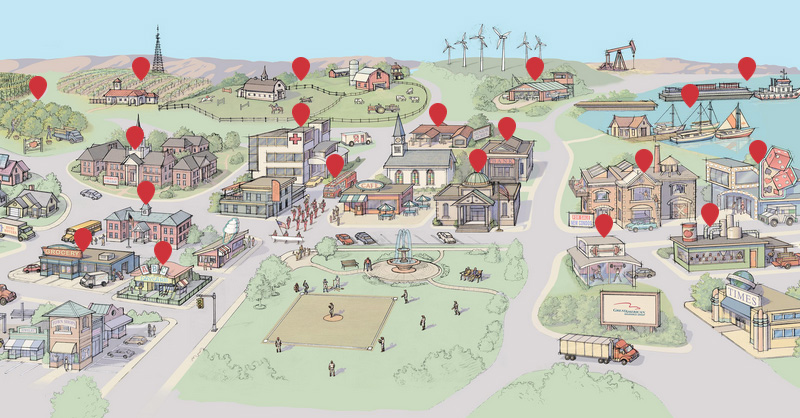 Facebook and LinkedIn feature image of the Great American riskopolis map illustration
