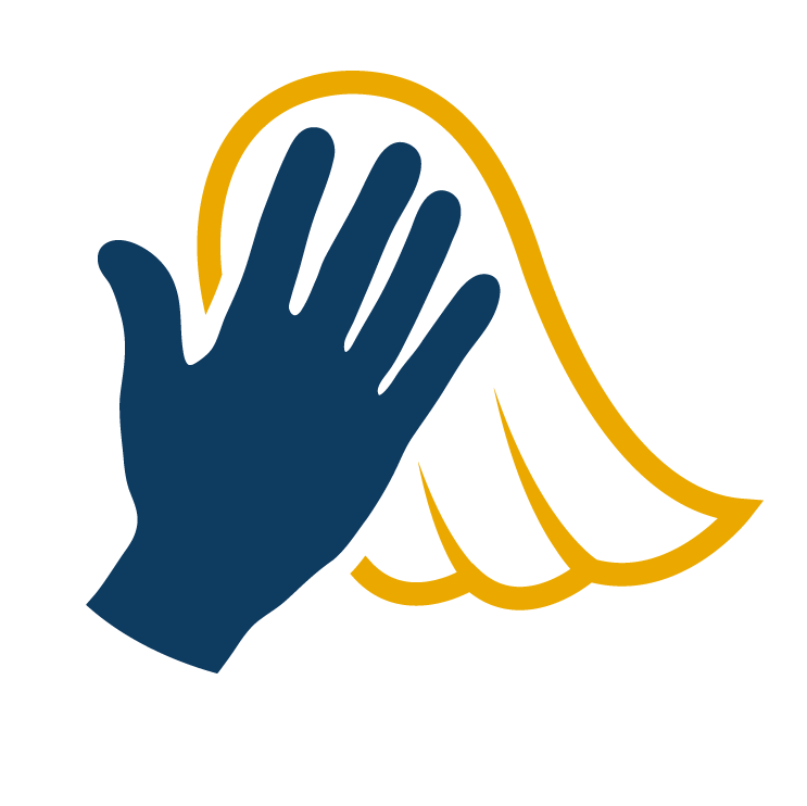 hand with towel clean-up icon