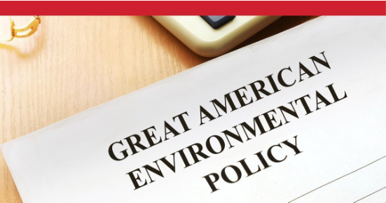 LinkedIn post feature image of a stack of papers with the headline - Great American Environmental Policy