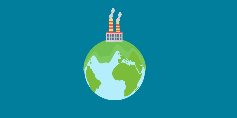 illustartion of the world with a factory on top
