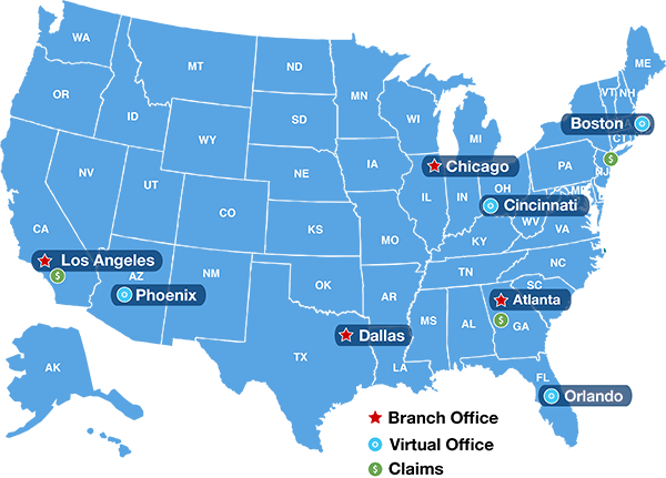 Excess Liability Office Location Map
