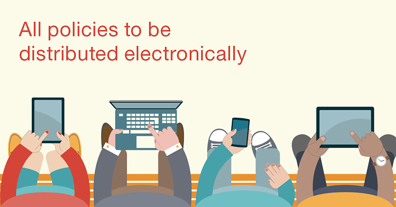 """All policies to be distributed electronically"" - looking down at a group of characters on devices"