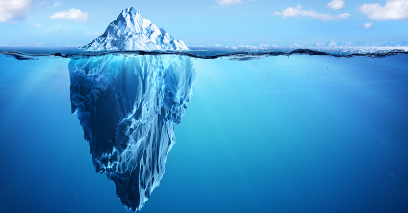 Floating iceberg in ocean