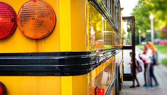 Close up of tail lights on school bus