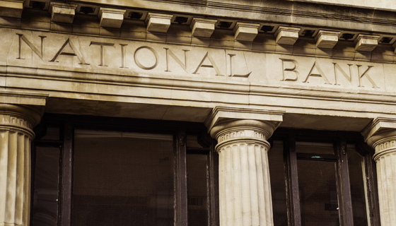 Close up of national bank sign