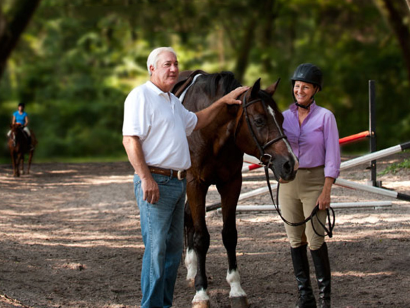 Elderly man with petting horse next to him while trainer holds it.